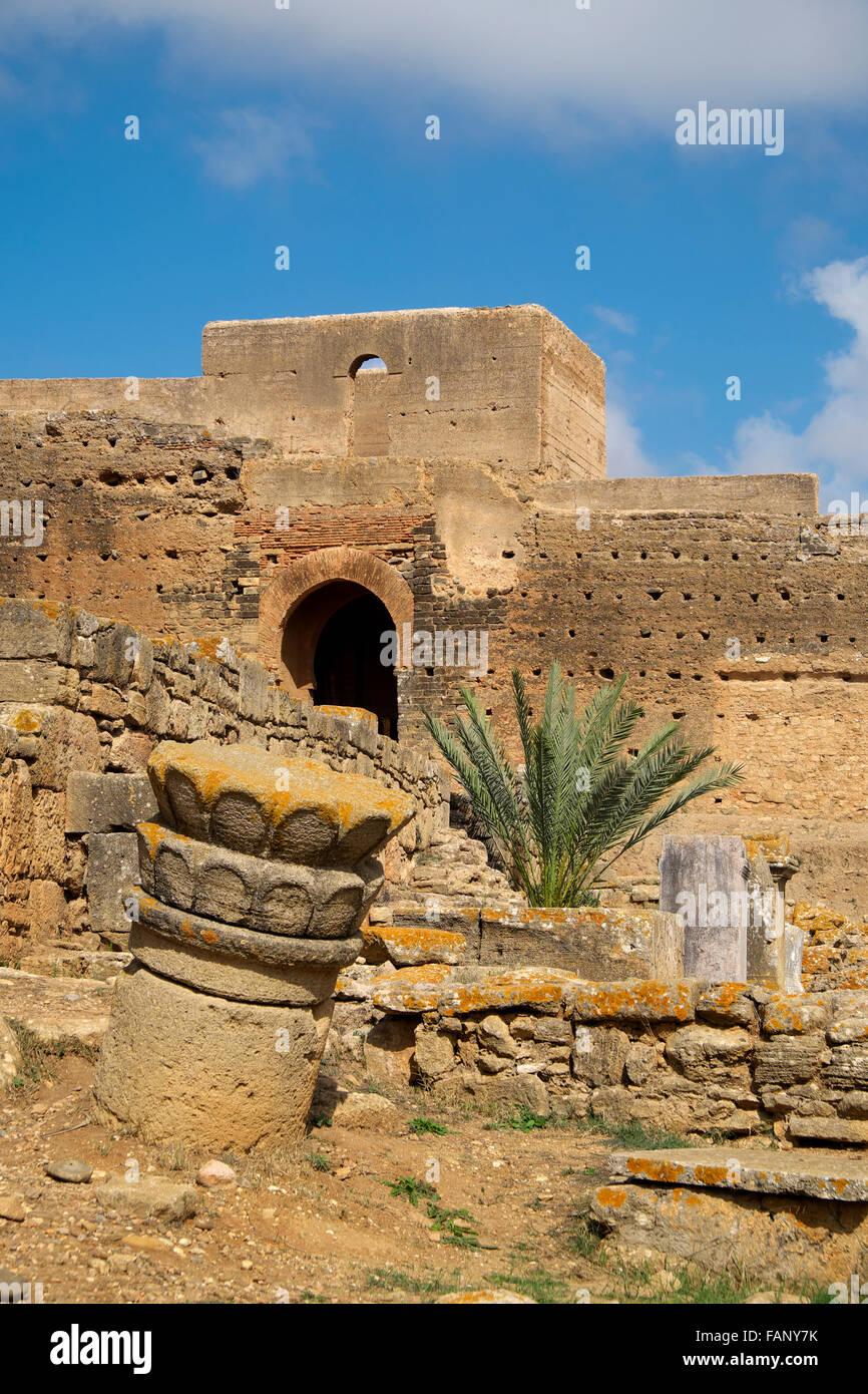 Ruinen der Nekropole Chellah, Rabat, Provinz Rabat, Marokko Stockbild
