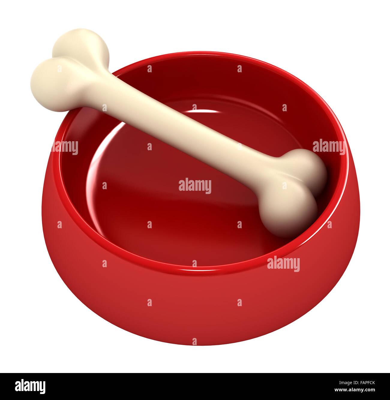 3D Render des Knochens in Haustier Schüssel isoliert auf weiß Stockbild