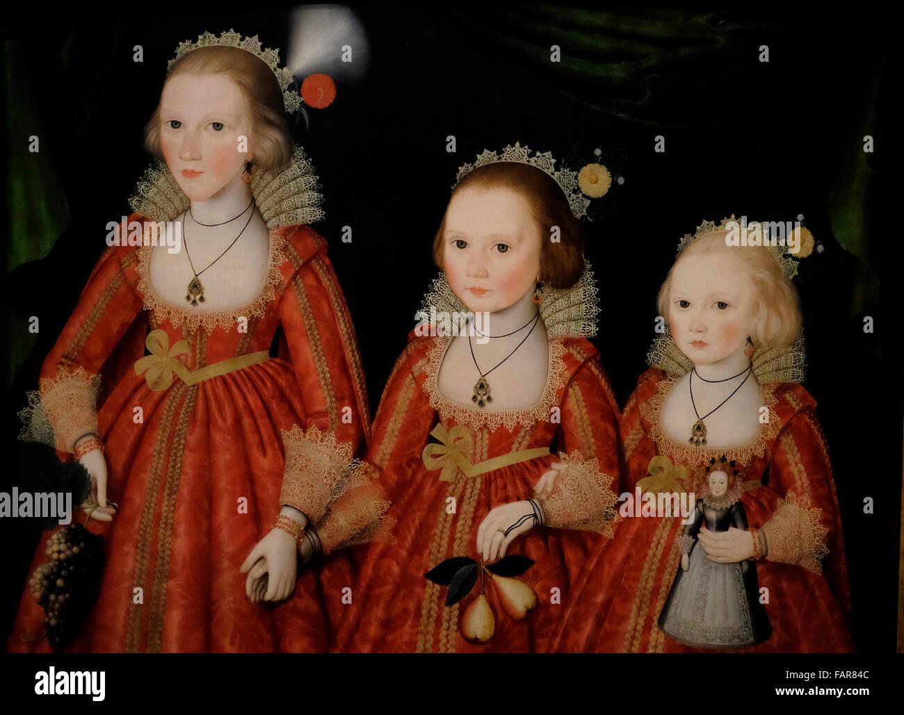 Porträt von drei Mädchen - Anhänger von William Larkin, ca. 1620 Stockbild