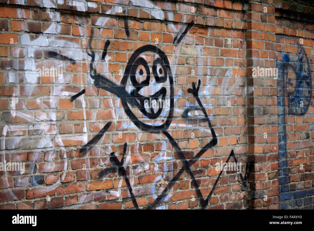 Graffiti / Street Art: Strichzeichung: Rauscher, Berlin. Stockbild