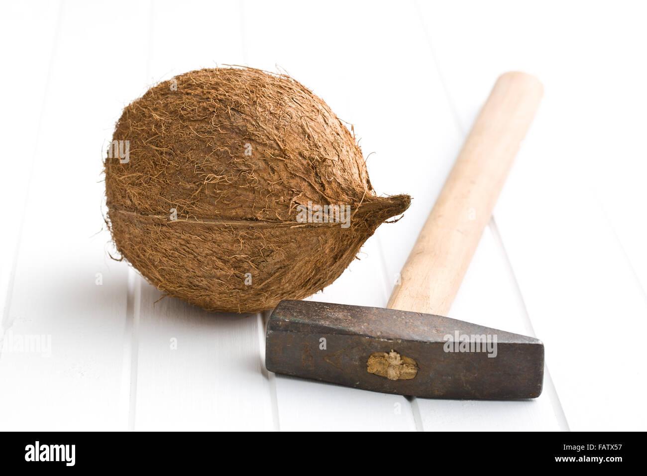 ganze Kokosnüsse und Hammer auf weißen Tisch Stockbild
