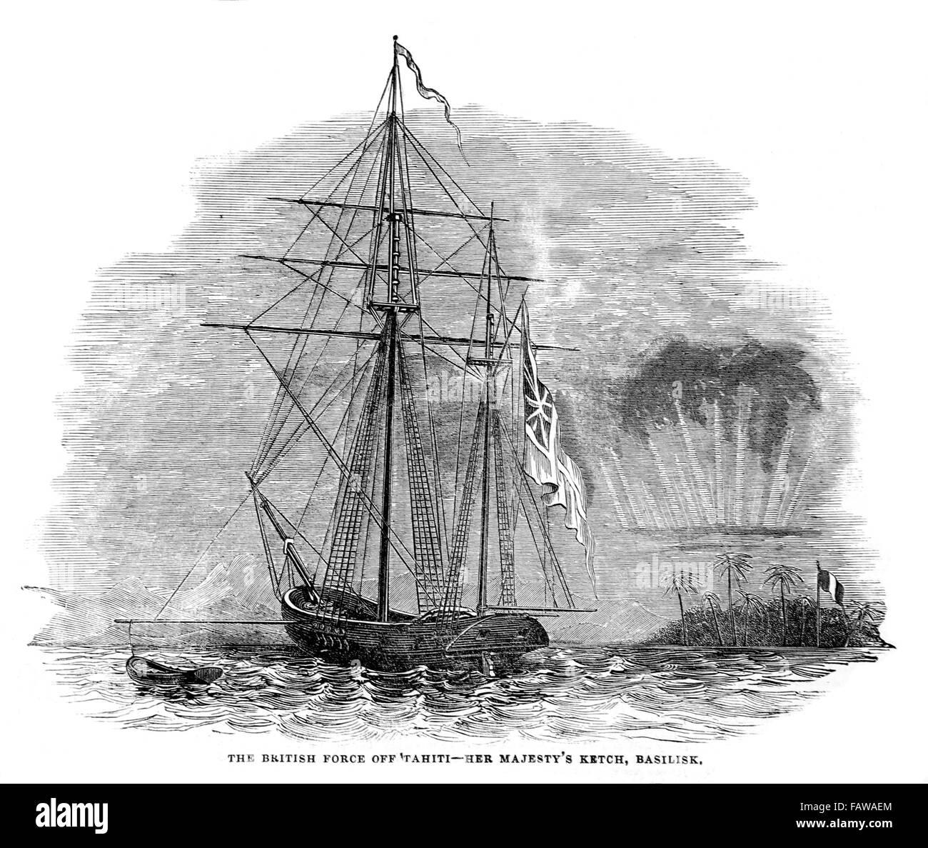 Tahitian Krieg von Unabhängigkeit; Die britische Kraft aus Tahiti, HM Ketsch Basilisk; Illustrierte London Stockbild