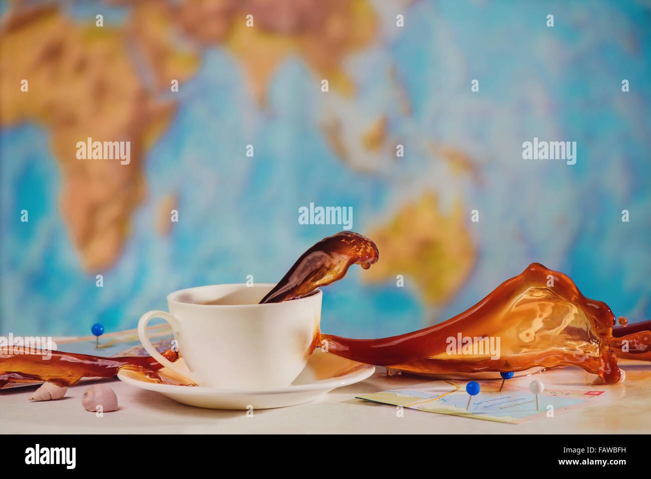 Kaffee an deck Stockbild