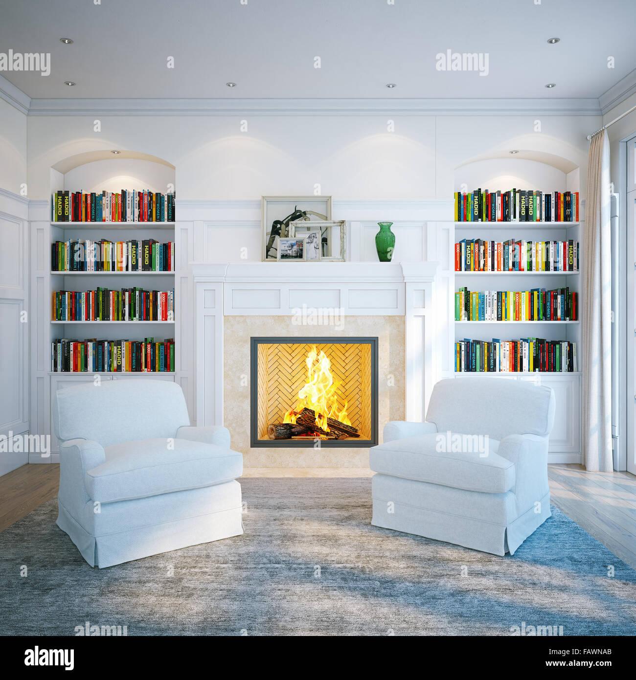 home bibliothek in klassischen weien raum wohnen interieur mit kamin 3d render