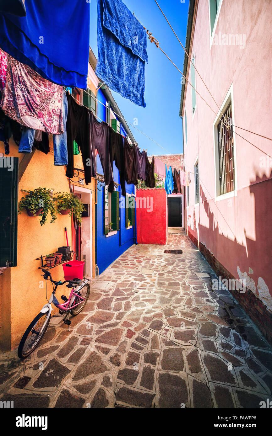 Alltag auf der Insel Burano, Provinz Venedig Stockbild