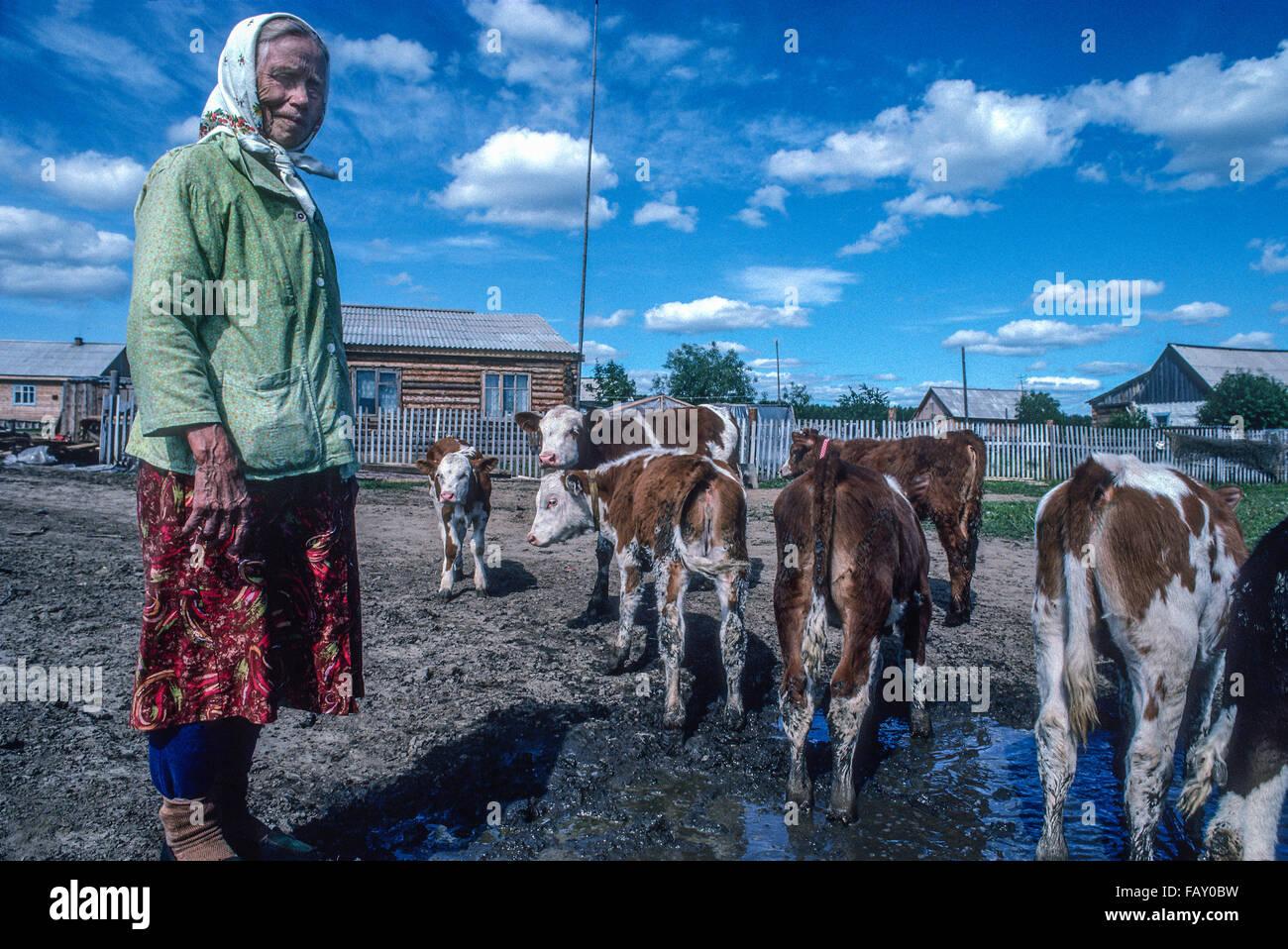 Eine Seniorin sibirische Frau arbeitet mit ihrem Vieh außerhalb ihrer Wohnung in der Region Krasnojarsk, Sibirien, Stockbild