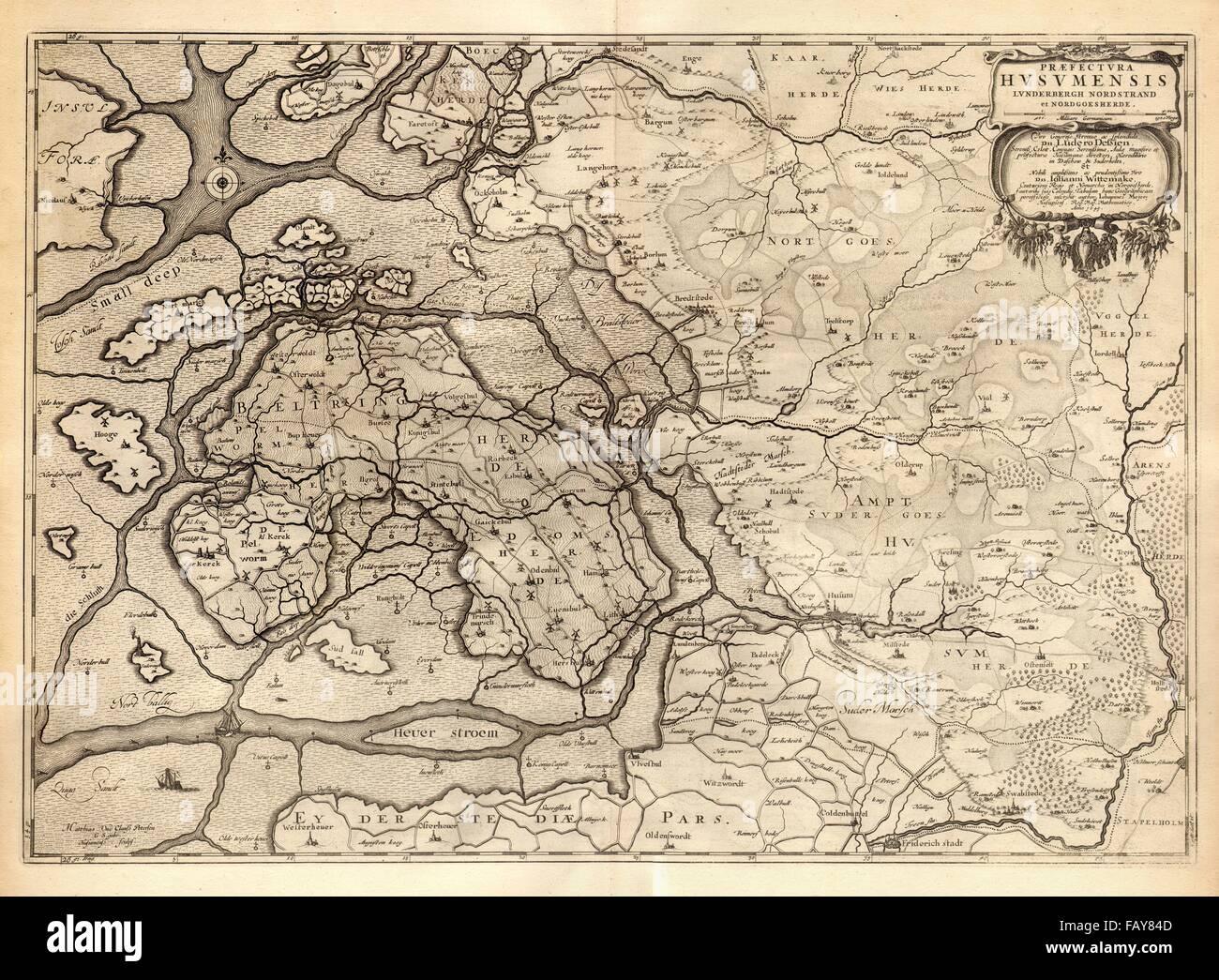 Husum Karte.Praefectura Husumensis Husum Prafektur Bredstedt