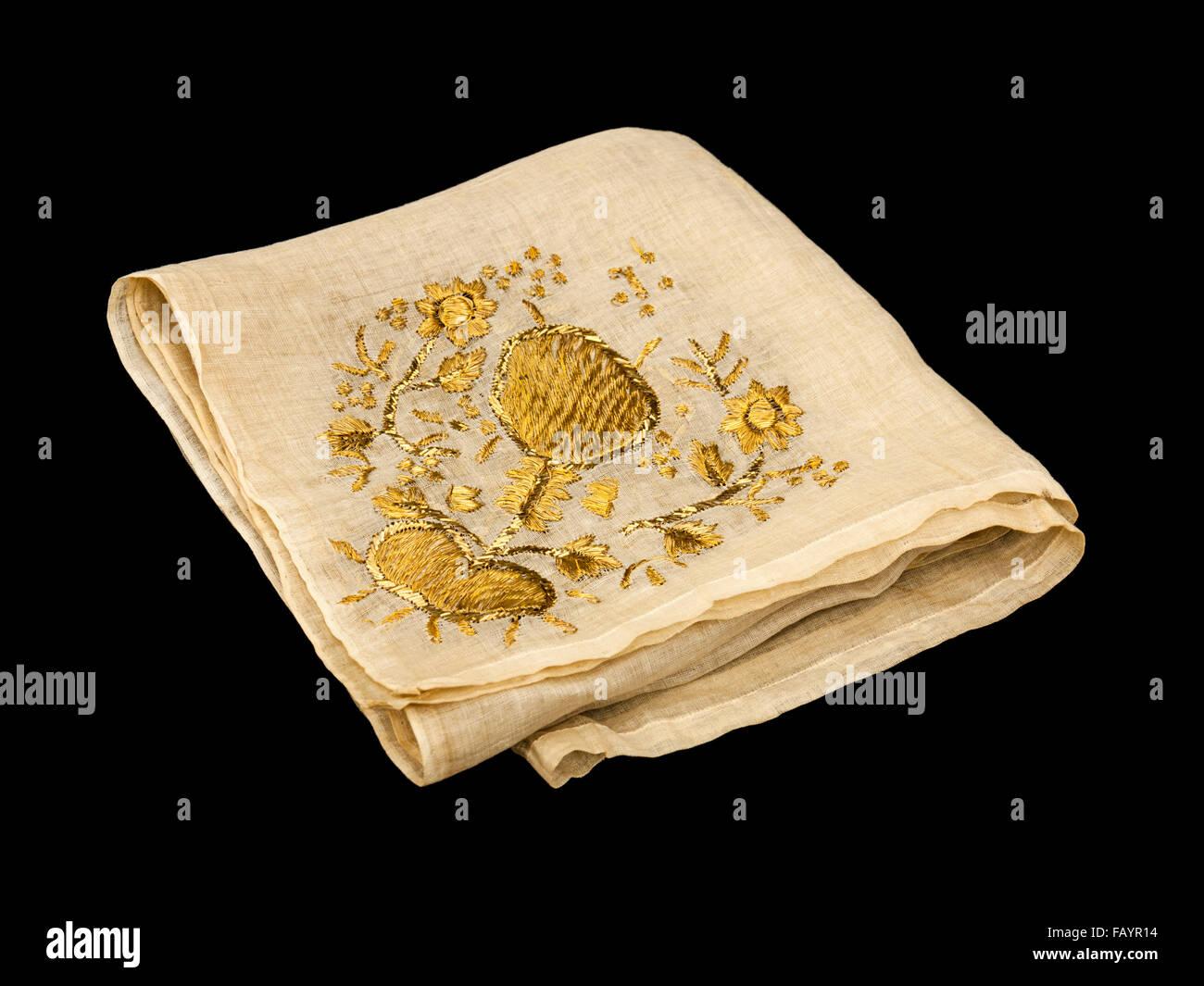 19. Jahrhundert chinesische Gold bestickte Tischdecke oder Wandbehang Antik Stockbild