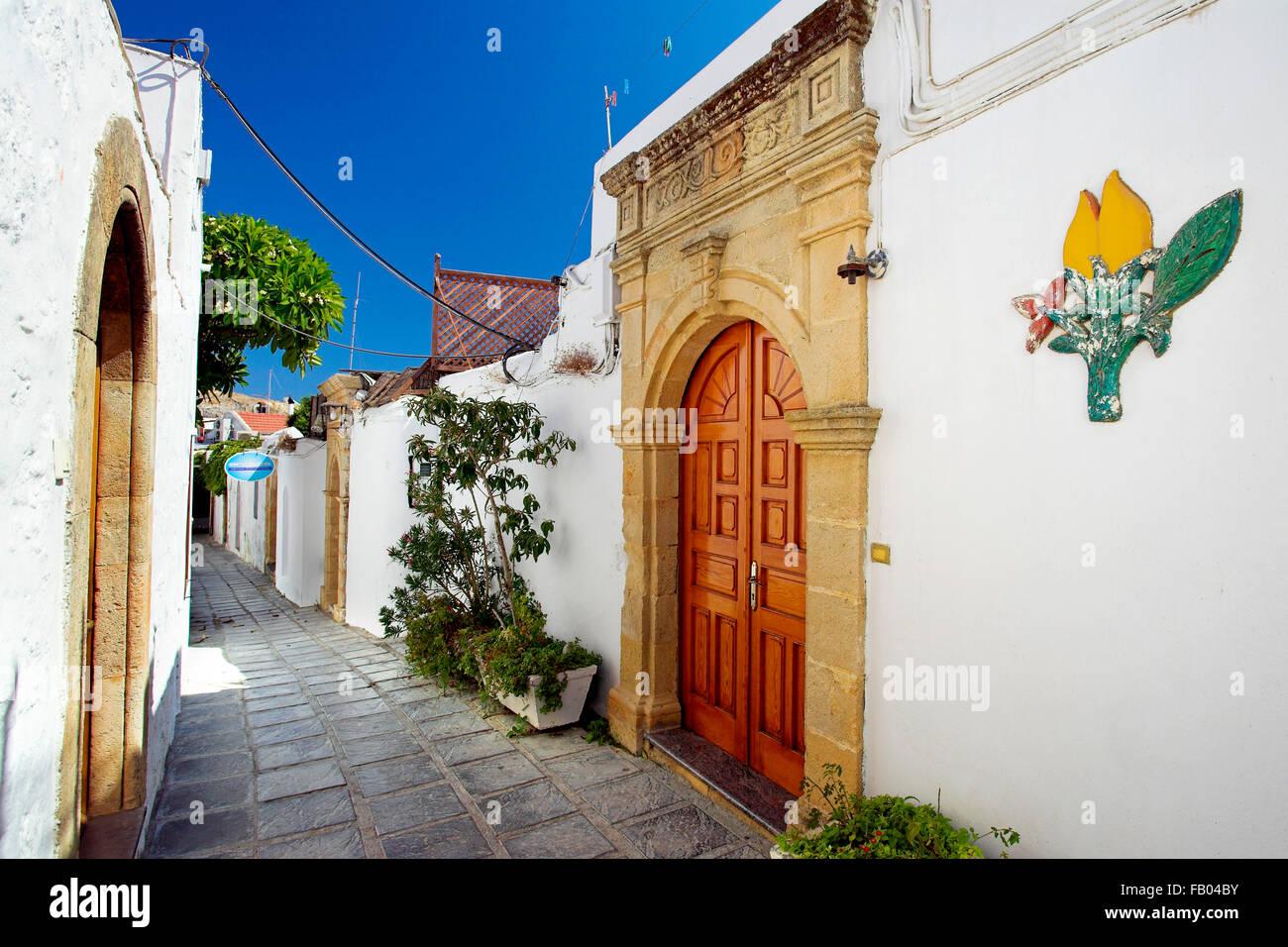 Altstadt Lindos, Rhodos, Griechenland Stockbild