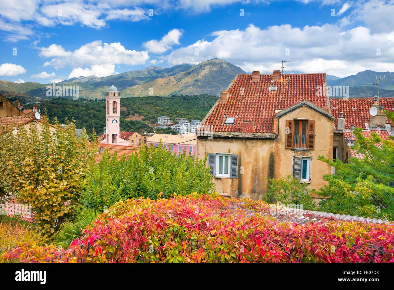 Corte, ehemalige Hauptstadt des unabhängigen Korsikas, typische Architektur der Altstadt, Korsika, Frankreich Stockbild