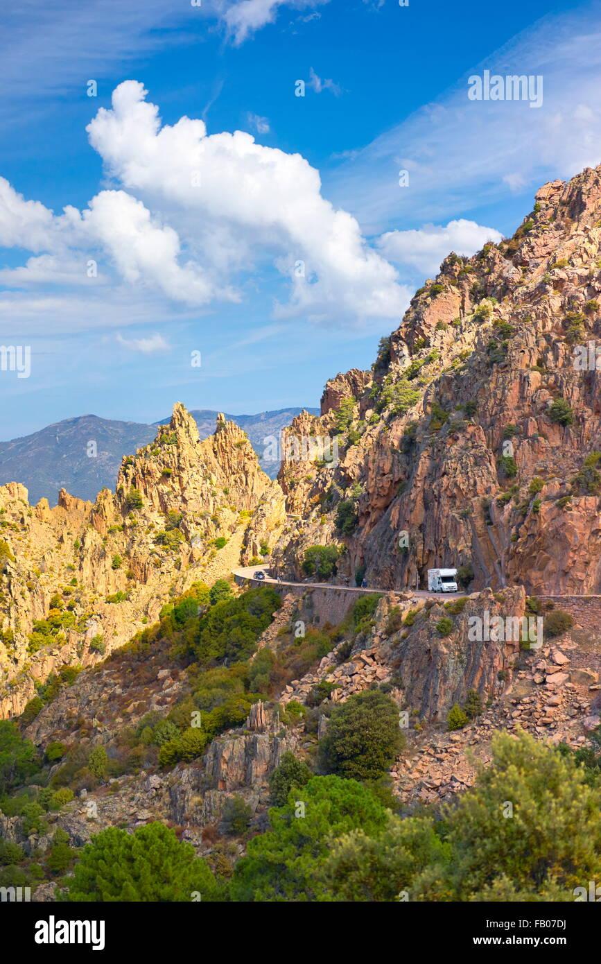 Les Calanches, Felsen vulkanischen rot Formationen Berge Landschaft, Golfe de Porto, UNESCO, Piana, Korsika, Frankreich Stockbild
