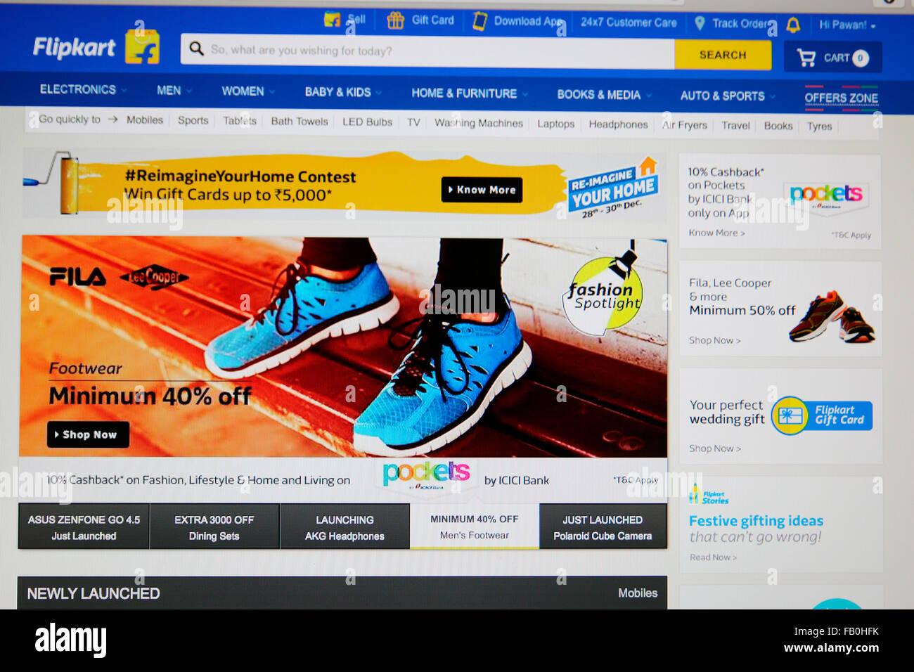 Flipkart Website für Online-shopping in Indien Stockfoto, Bild ...