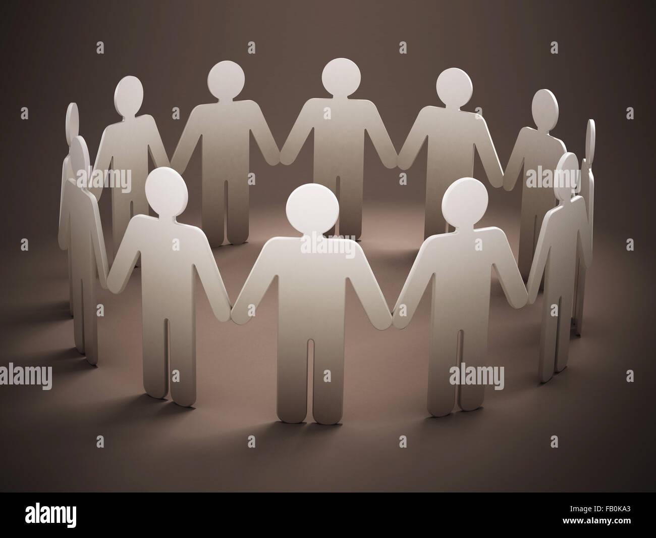 Menschen, die Hand in Hand mit weichen Schatten Stockbild