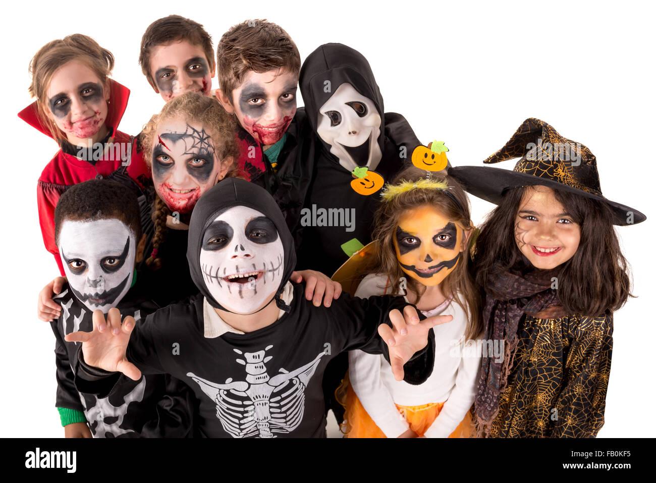 Gruppe Von Kindern Mit Gesicht Malen Und Halloween Kostume Stockfoto