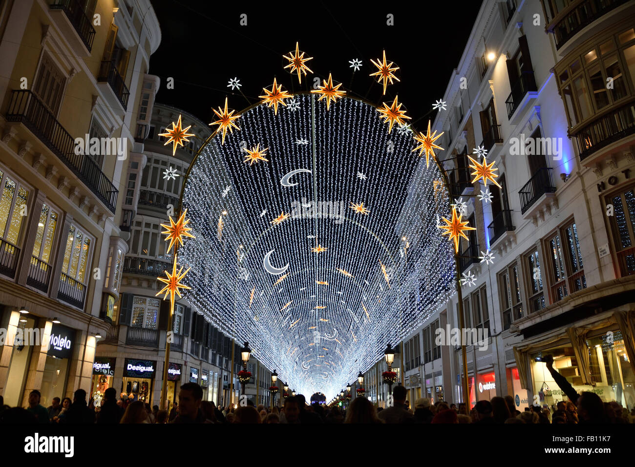 Malaga Christmas Lights Stockfotos & Malaga Christmas Lights Bilder ...