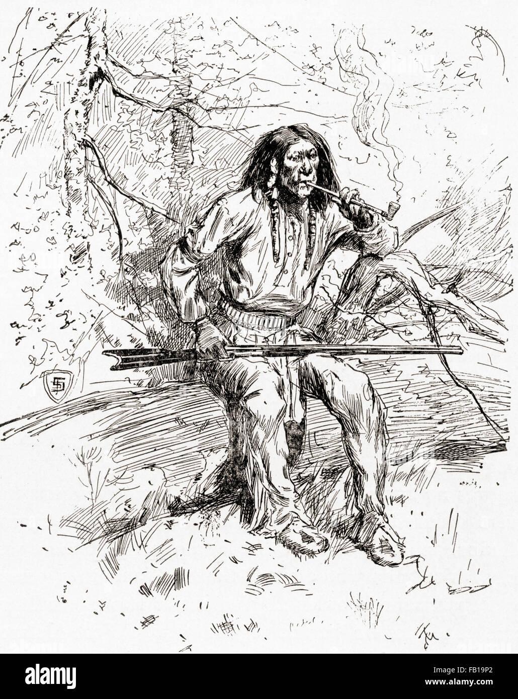 Ein Apache indischen Krieger im 19. Jahrhundert. Stockbild