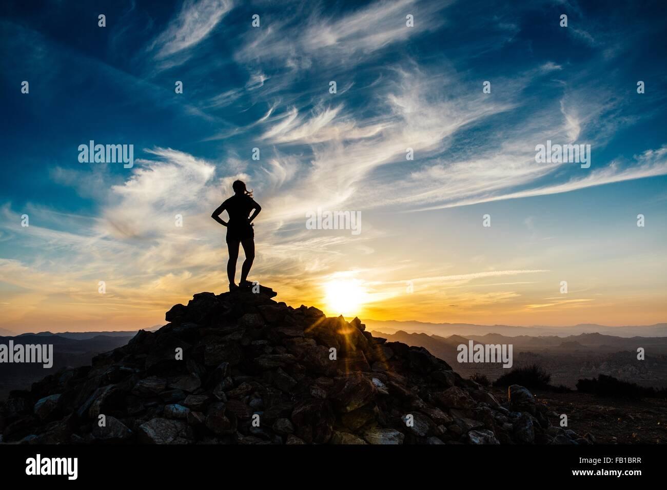 Silhouette Mitte Erwachsene Frau Berg Sonnenuntergang hintere Draufsicht Ryan Berg Wandern Wanderweg Joshua Tree Stockbild