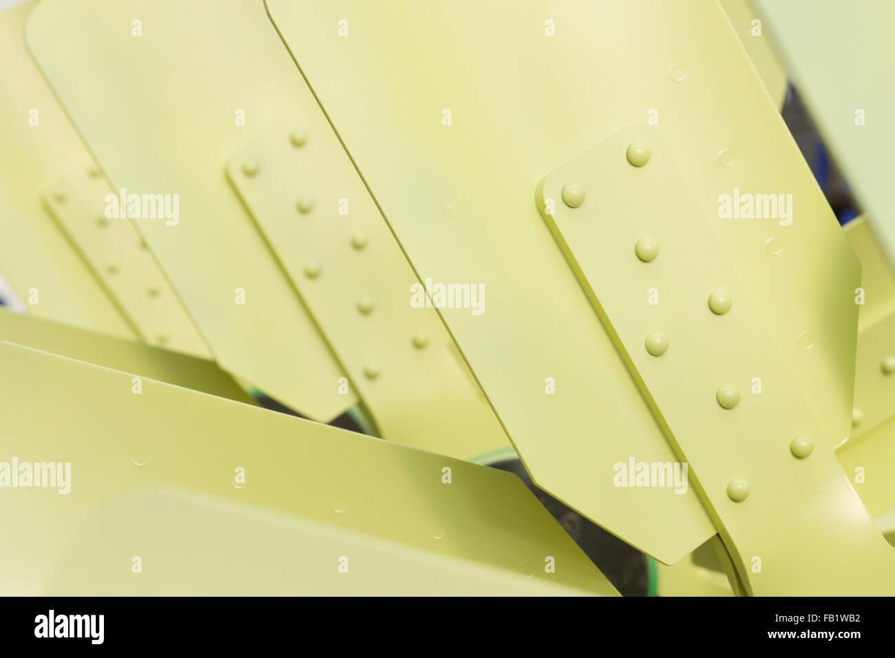 Nahaufnahme von industriellen Metall Lüfterflügel Stockbild