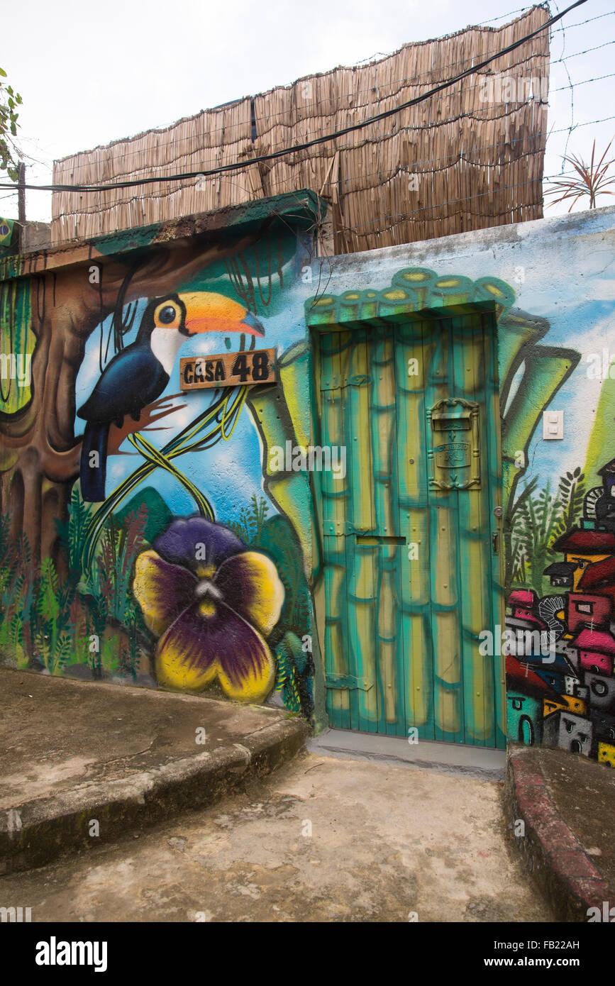 Hostel, Favela Vila Pereira da Silva, Pereirão, Laranjeiras Nachbarschaft, Rio De Janeiro, Brasilien Stockfoto