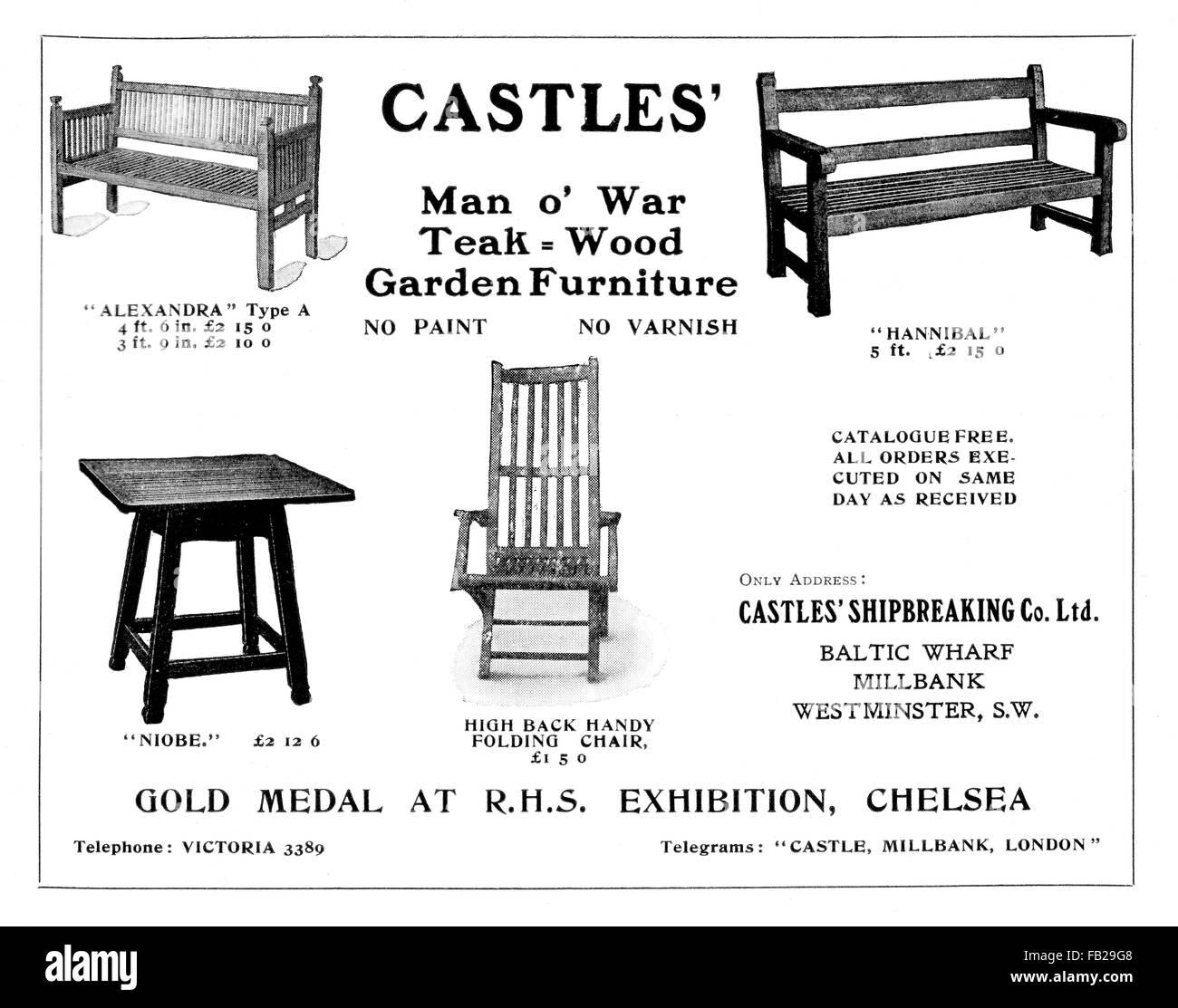 Burgen Man O\' Krieg Teak Holz Gartenmöbel, 1912-Werbung von The ...