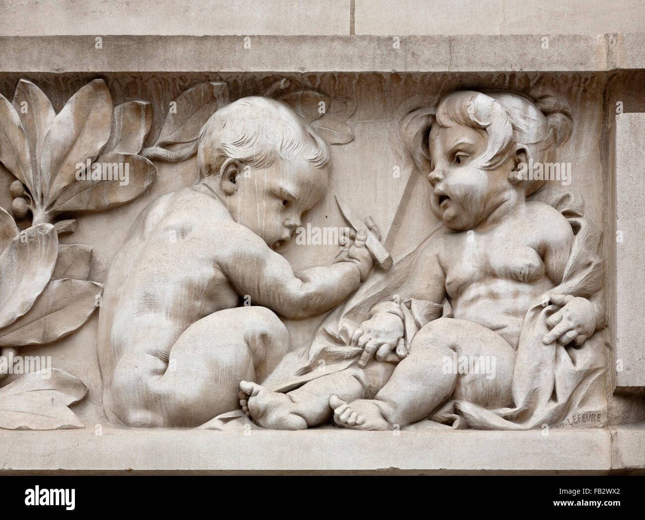 Paris, Grand Palais, Putte als Zeichner Stockbild