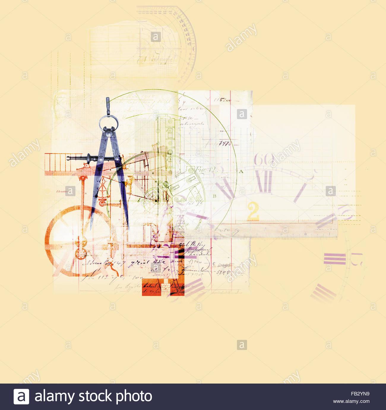 Collage aus Uhr, Konten und Messung Stockbild