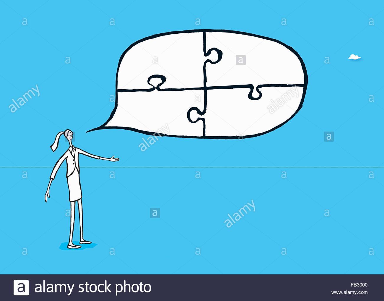 Geschäftsfrau im Gespräch mit angeschlossenen Puzzlestücke in Sprechblase Stockbild