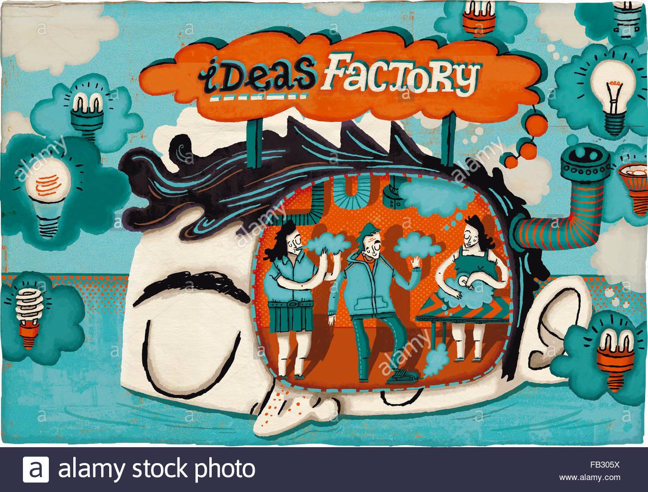 Menschen arbeiten in Ideenfabrik Stockbild