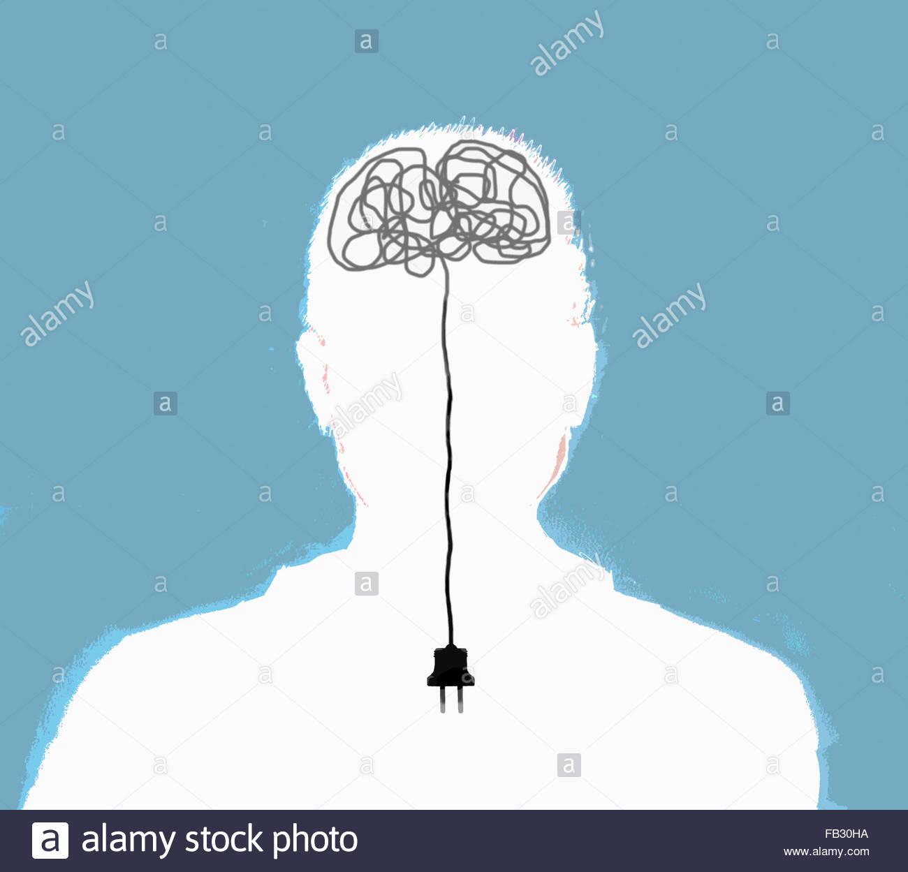 Mann mit unplugged elektrischen Kabelsalat im Gehirn Stockbild