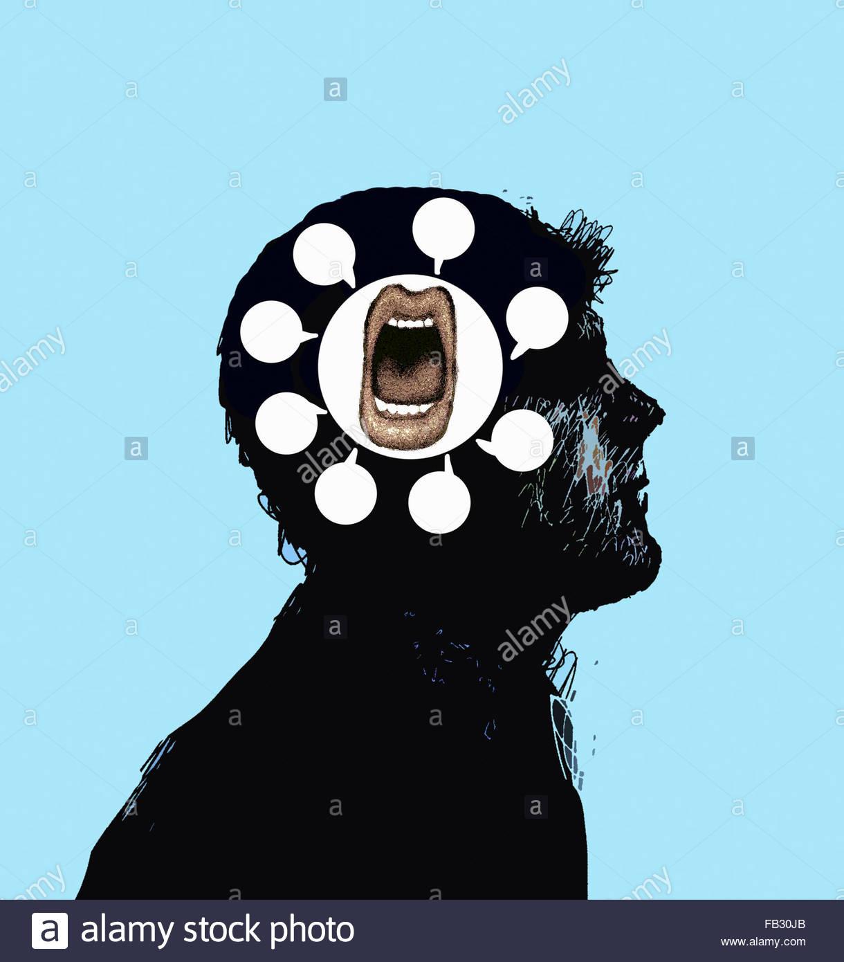 Offener Mund mit vielen Sprechblasen innerhalb Männerkopf im Gespräch Stockbild