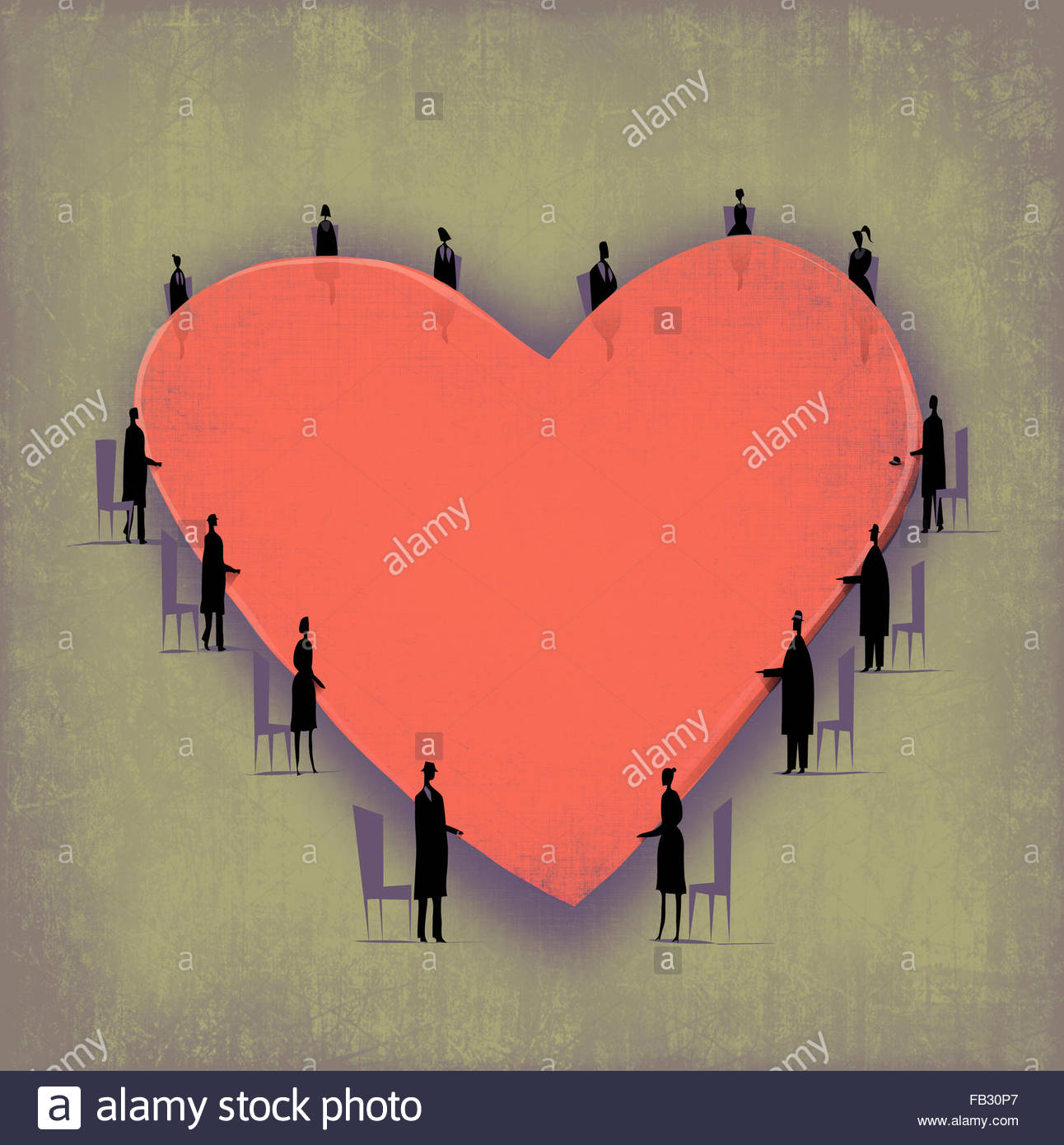 Geschäftsleute, die herumstehen Herz Form Board Salontisch Stockbild