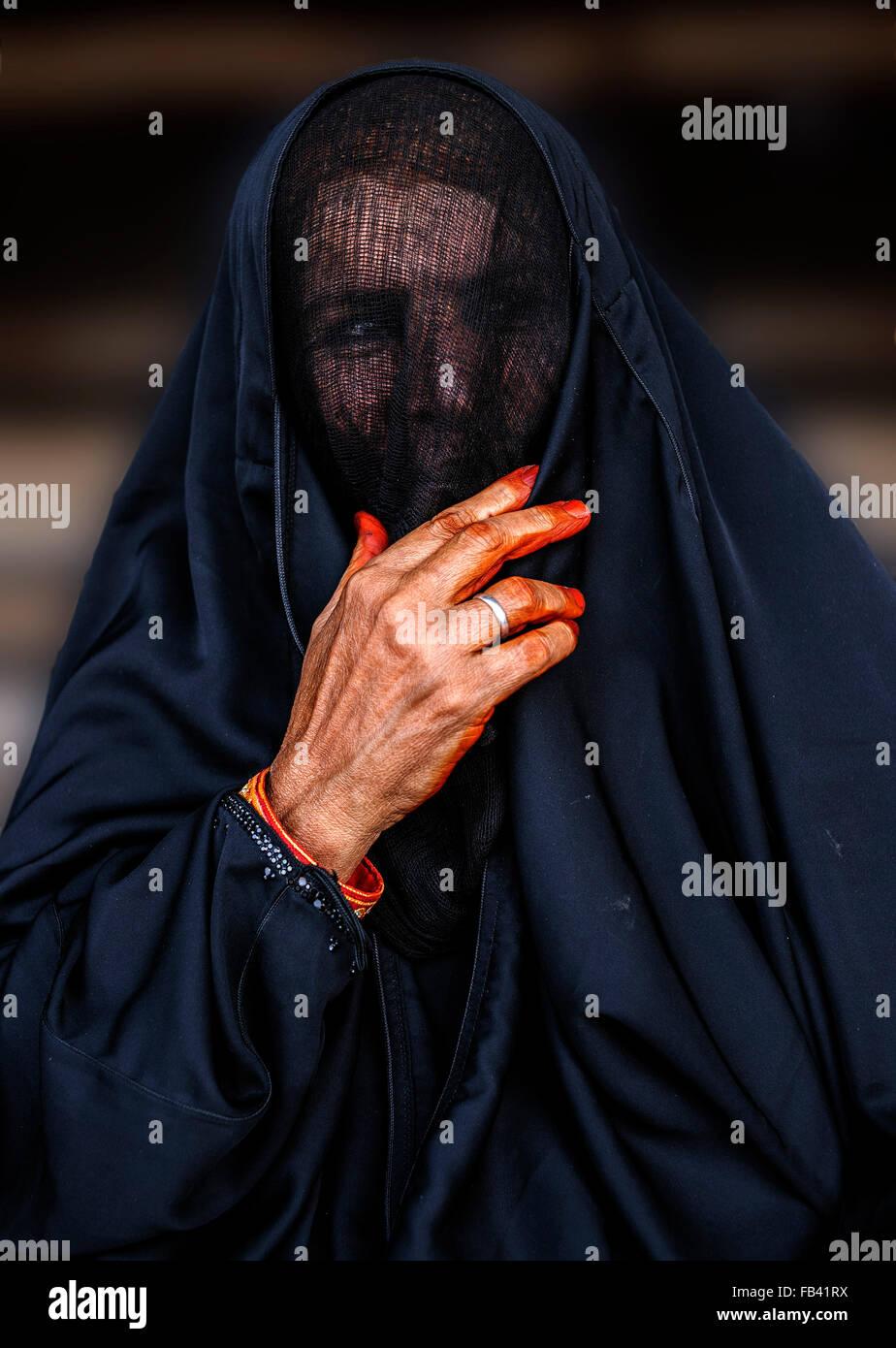 Omanische Frau in Tracht, Oman Stockbild