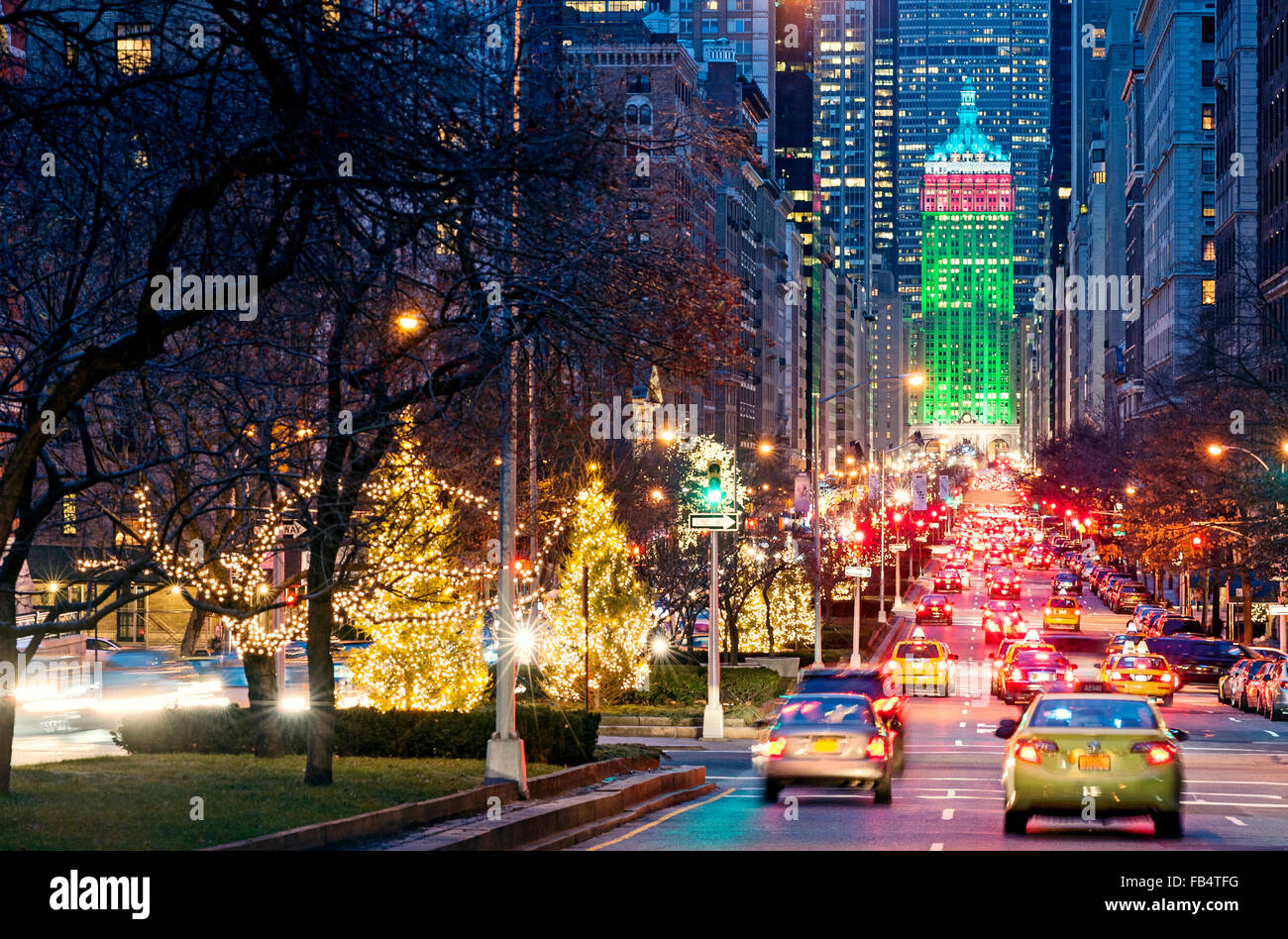 New York Weihnachten New York Straßen Park Avenue New York City ...