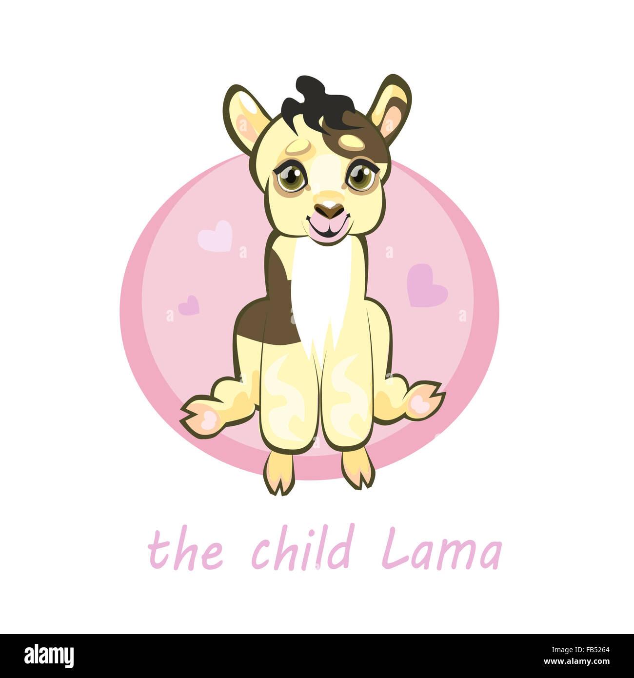 Kleines Baby Lama Alpaka, niedlichen Cartoon Charakter, rosa Hintergrund mit Herzen, Vektor drucken. Stockbild