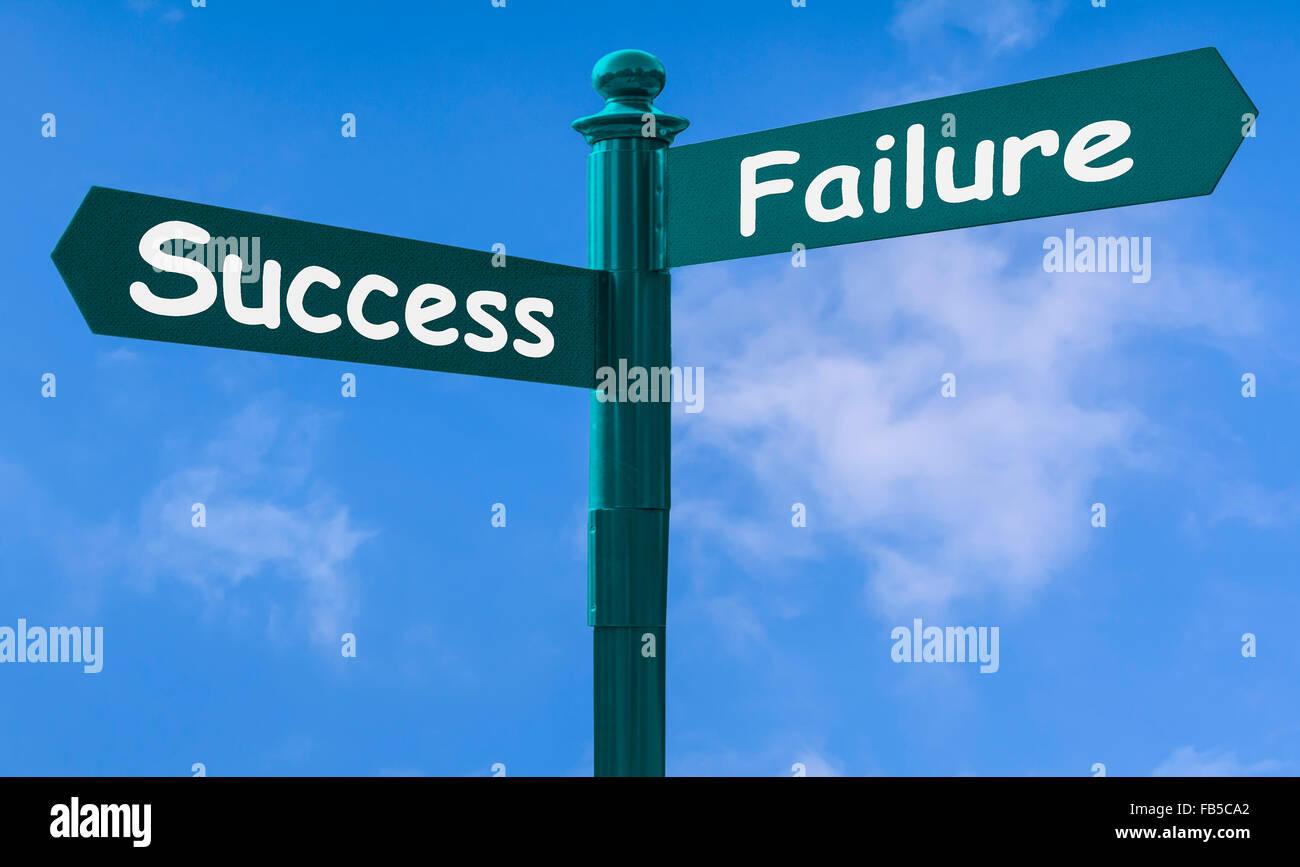 Erfolg und Misserfolg Konzept unterzeichnen. Stockbild