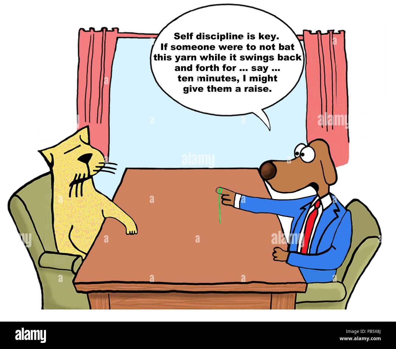Business-Cartoon über Leistungsbeurteilung. Der Chef-Hund quält ...