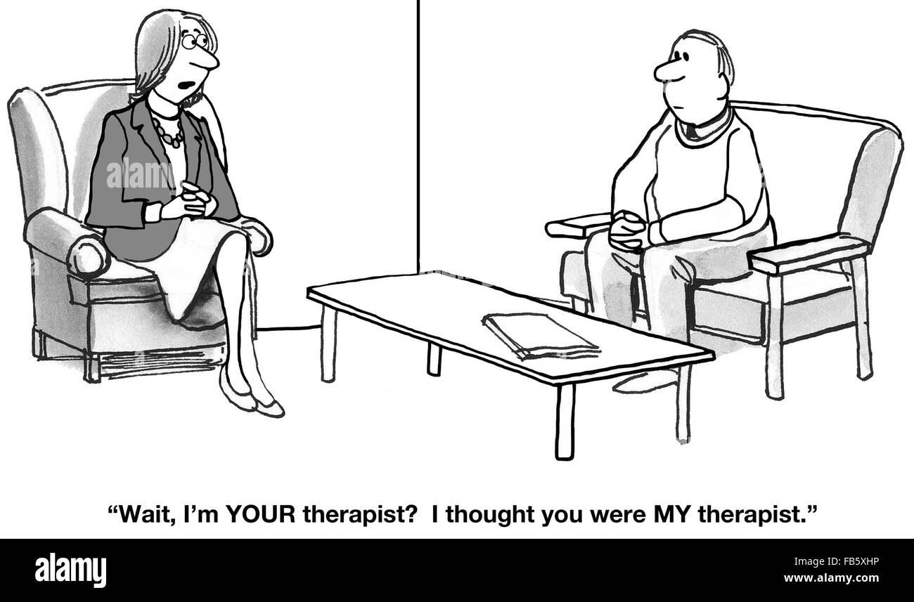 Psychische Gesundheit Cartoon. Es gibt Verwirrung auf, wer von ihnen ...