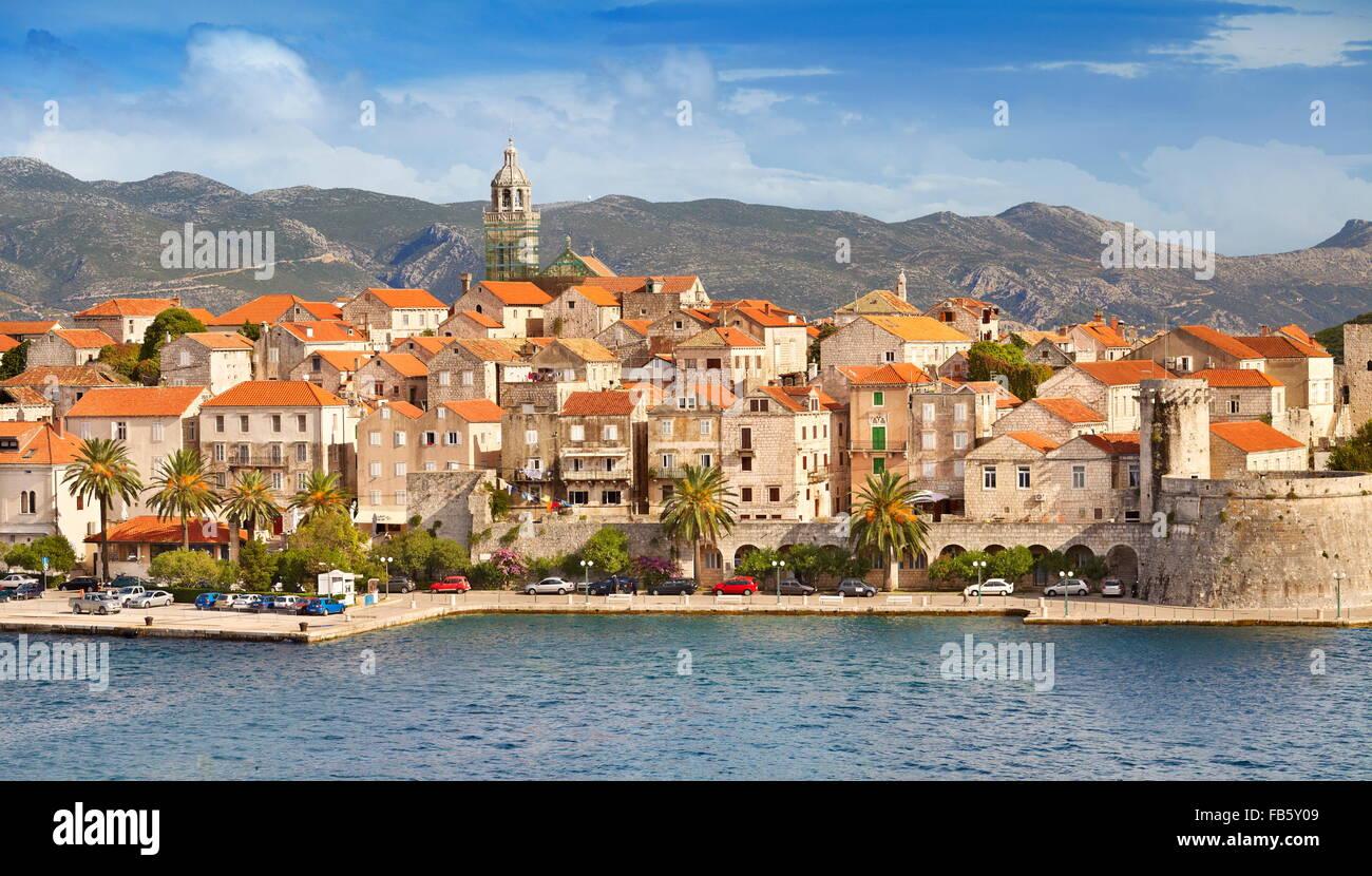 Korcula, Altstadt, Hafen am Meer, Kroatien Stockbild