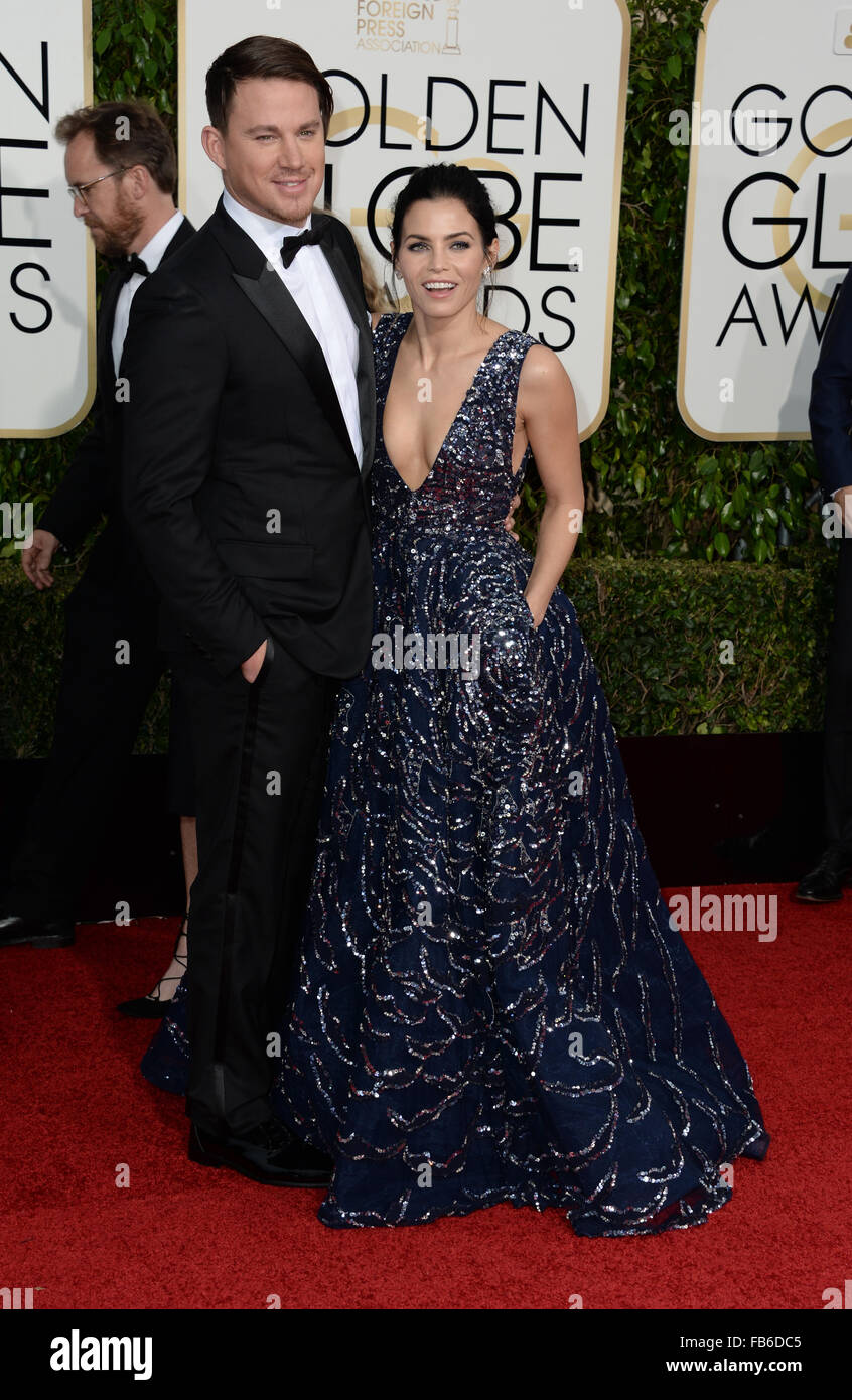 Los Angeles, Kalifornien, USA. 10. Januar 2016. Channing Tatum und Jenna Duwan-Tatum kommt bei den Golden Globes, Stockbild