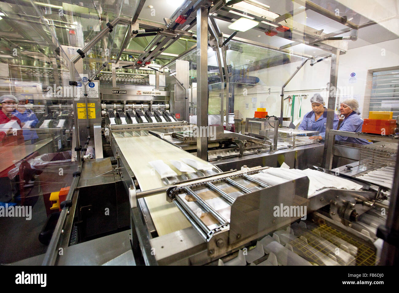 Produktionslinie in Norco Eis Fabrik, Lismore, NSW, Australien Stockbild