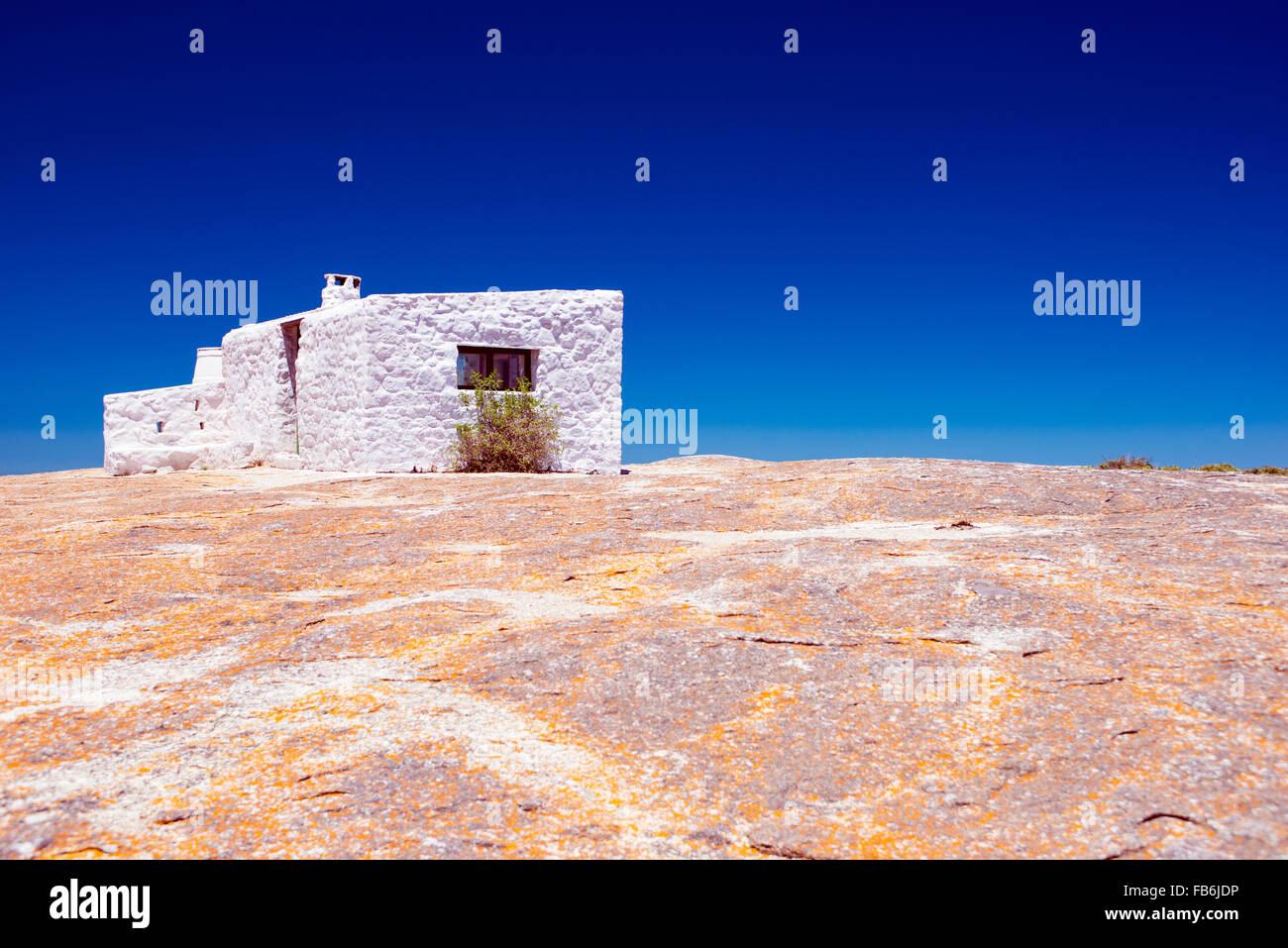 Der weiße Hut in Seeberg View Point in The West Coast National Park, Südafrika Stockbild