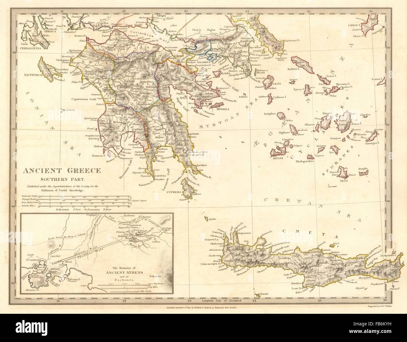 Peloponnes Karte.Antiken Griechenland Morea Creta Athen Peloponnes Kykladen Arcadia