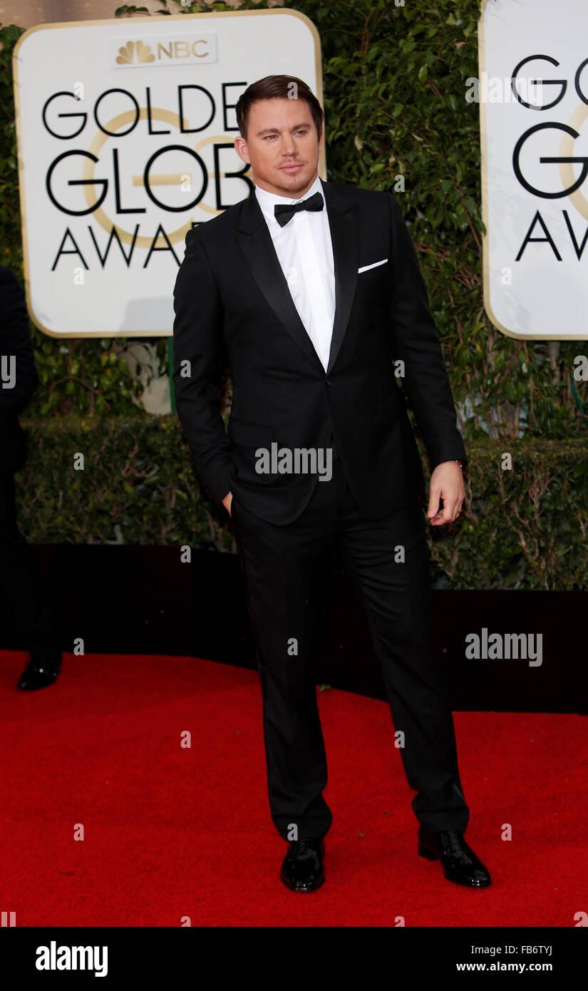 Beverly Hills, ca, USA. 11. Januar 2016. Schauspieler Channing Tatum kommt für die 73rd Annual Golden Globe Stockbild