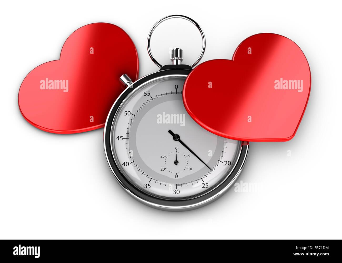 Speed-dating Konzept oder Liebe auf den ersten Blick Symbol, zwei Herzen mit einem Chronometer auf weißem Hintergrund Stockbild