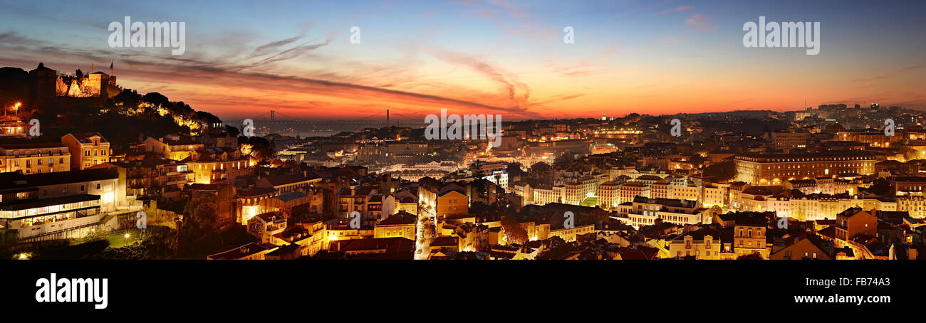 Panorama Blick auf Lissabon schöne Dämmerung. Portugal Stockbild