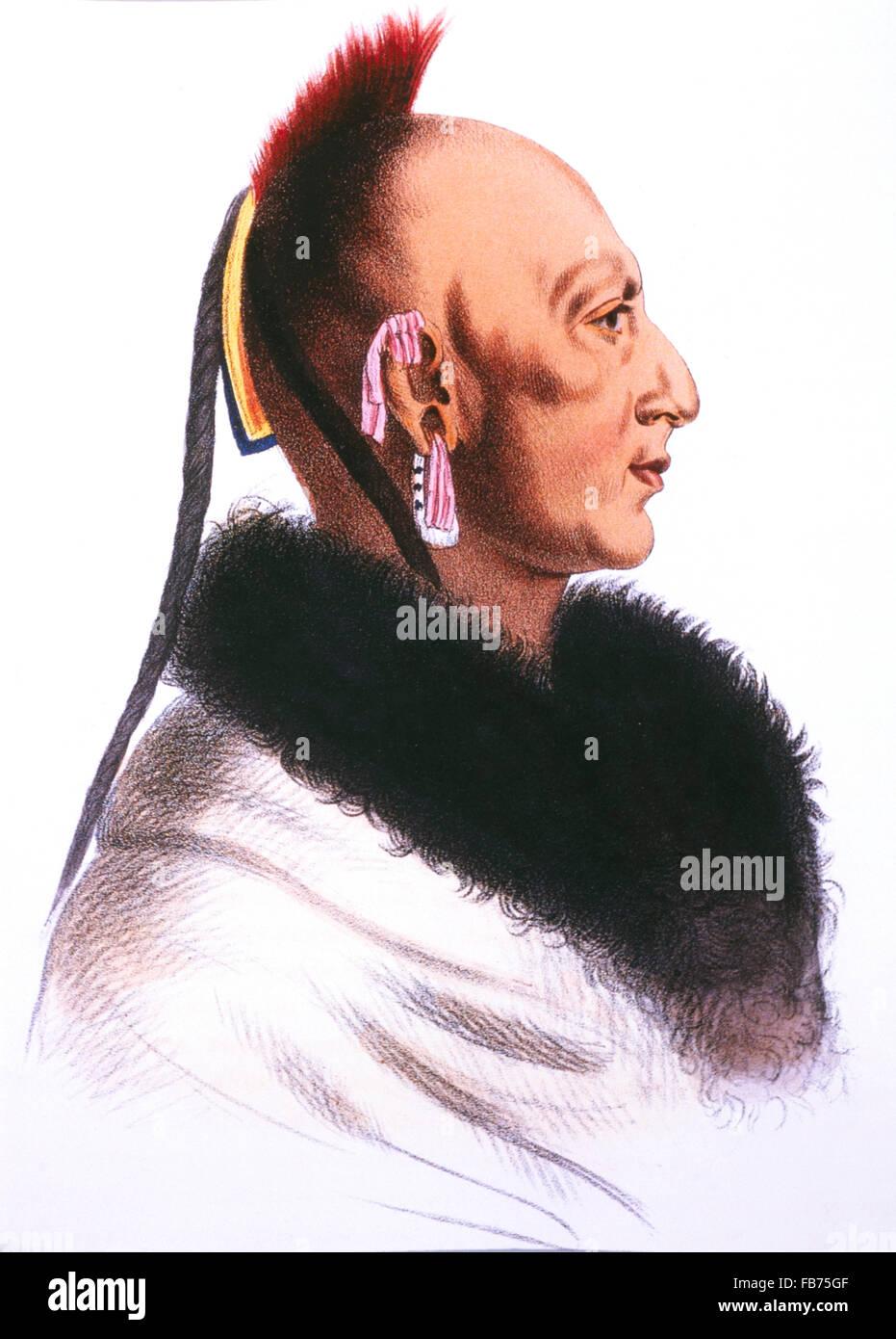 Le Soldat du Chene, Chef der Osage, Lithografie von McKinney und Hall nach einem Gemälde von Charles de Saint Stockbild