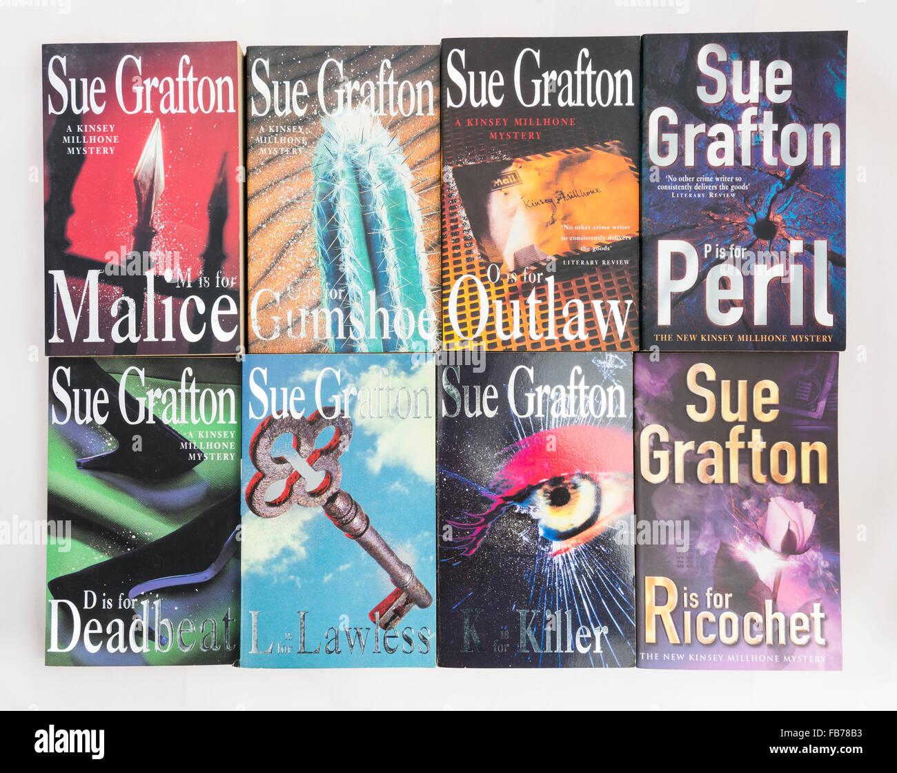 Krimis von Sue Grafton mit Privatdetektiv Kinsey Millhone. Stockbild
