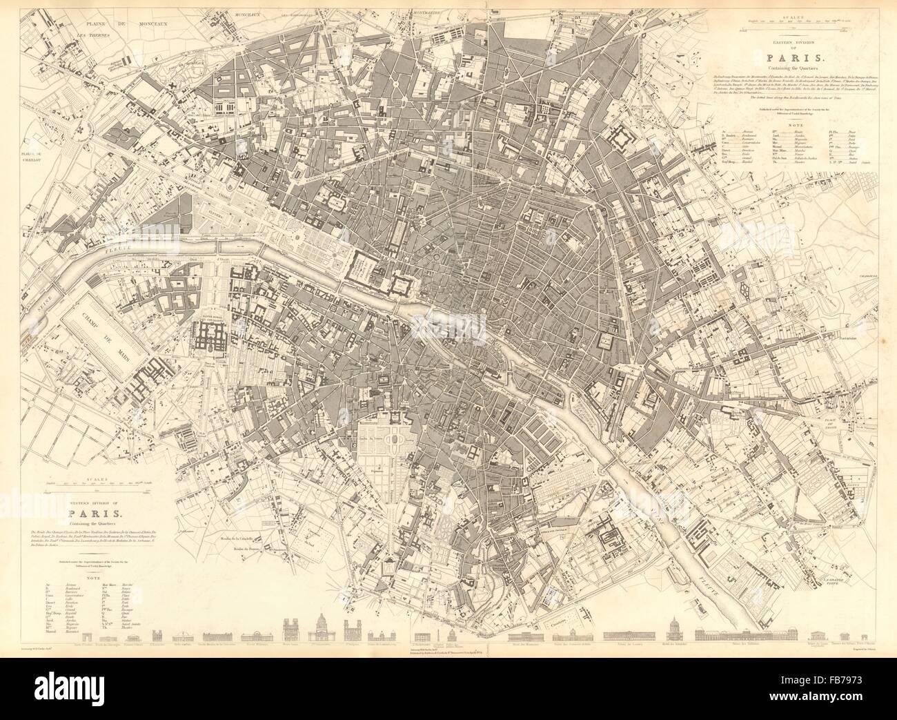 Karte Paris Stadtplan.Paris Antike Stadt Karte Stadtplan Großen 55 X 40 Cm Sduk 1848