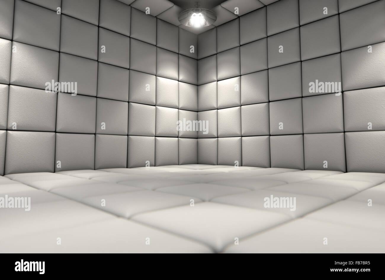 Eine weiße Gummizelle in einer psychiatrischen Klinik Stockfoto