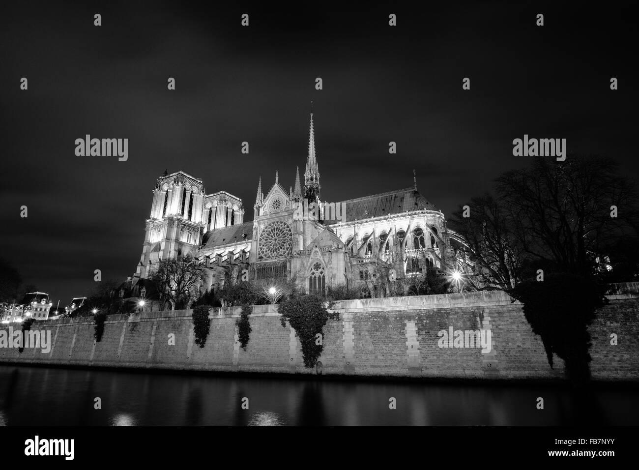 Eine schöne Nachtaufnahme der Kathedrale Notre Dame entlang der Seine in Paris Frankreich. Stockbild
